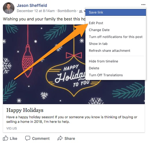 How do I edit my Social Prompt post on Facebook? – BombBomb